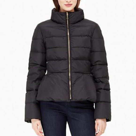 KATE SPADE Peplum Puffer Jacket In Black